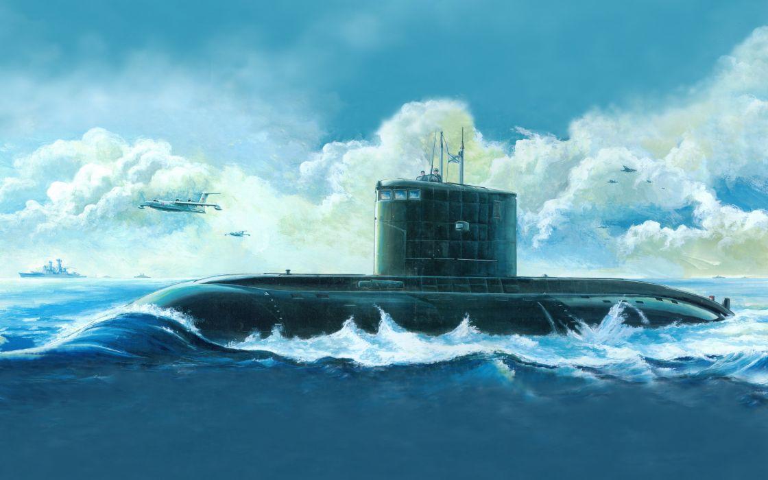 russian kilo class attack submarine art drawing military     f wallpaper