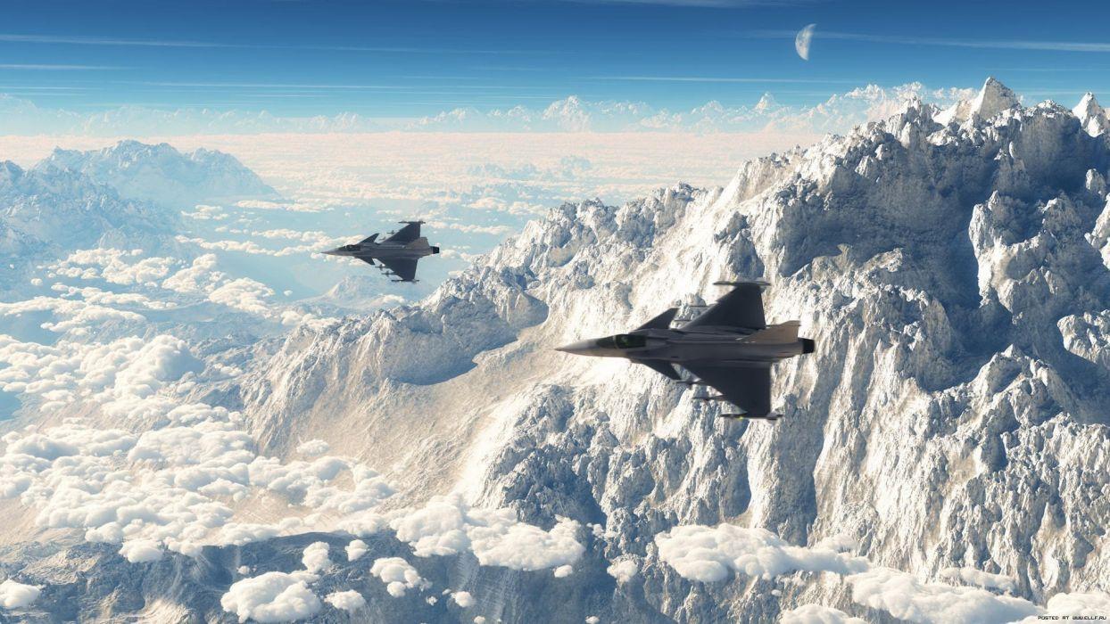 saab jas-39 military jet mountains winter snow     d wallpaper