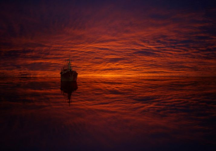 sea reflection clouds ship ocean psychedelic d wallpaper