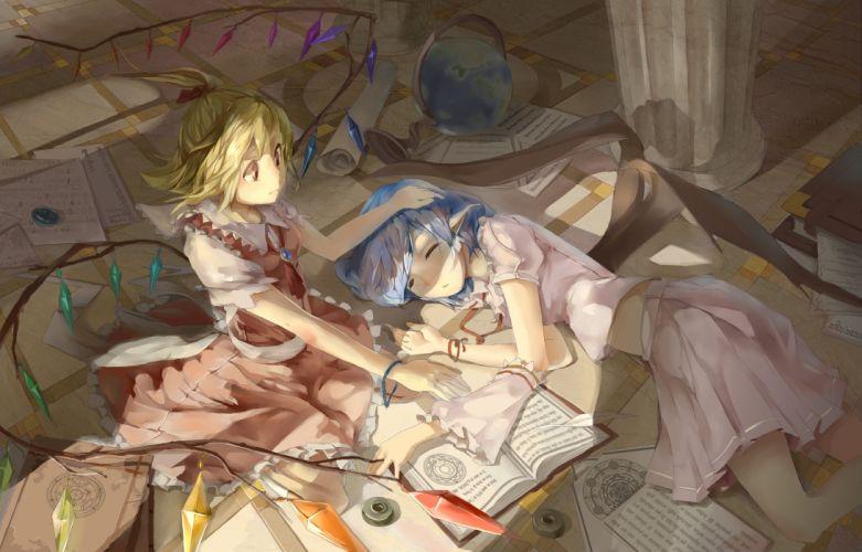 touhou blonde hair blue hair book dress flandre scarlet gensou kurou usagi necklace ponytail red eyes remilia scarlet ribbons touhou wings wallpaper