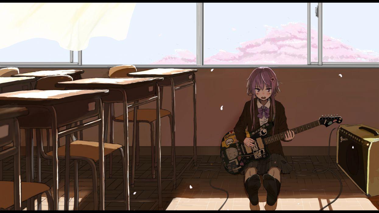 vocaloid bow cherry blossoms guitar instrument long hair pink hair seifuku socks takekumo twintails vocaloid yuzuki yukari wallpaper