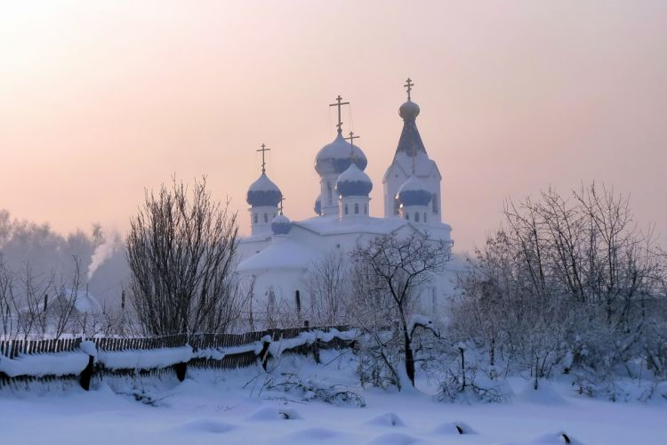 winter snow fence temple cathedral d wallpaper