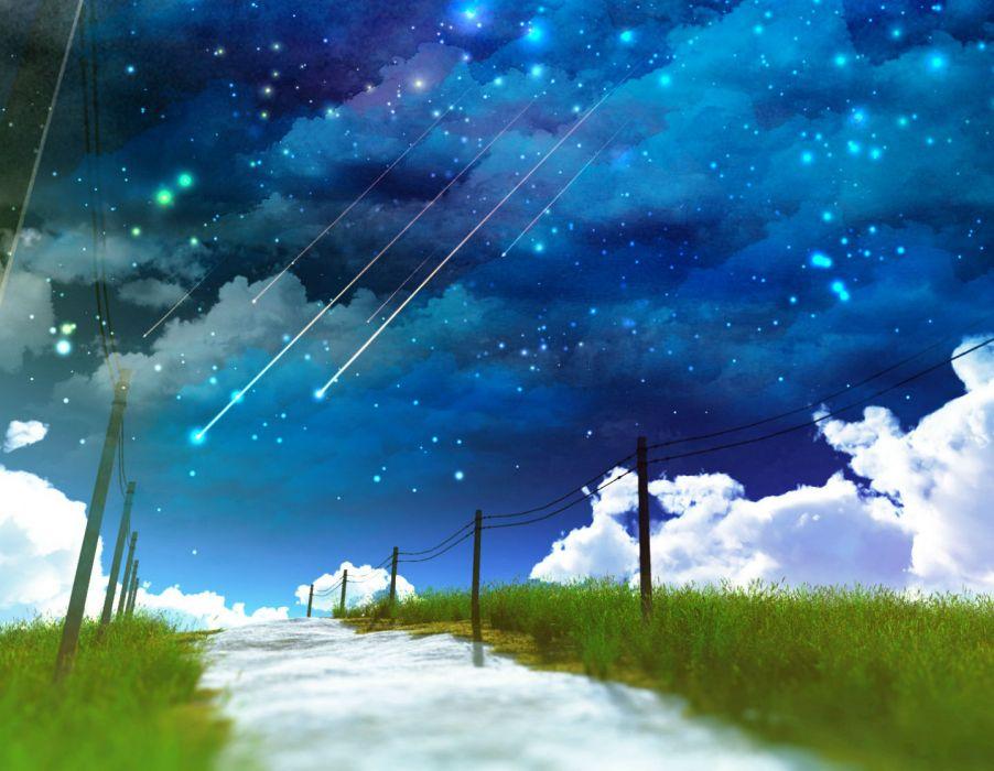 original clouds grass nobody original scenic sky stars water y-k wallpaper
