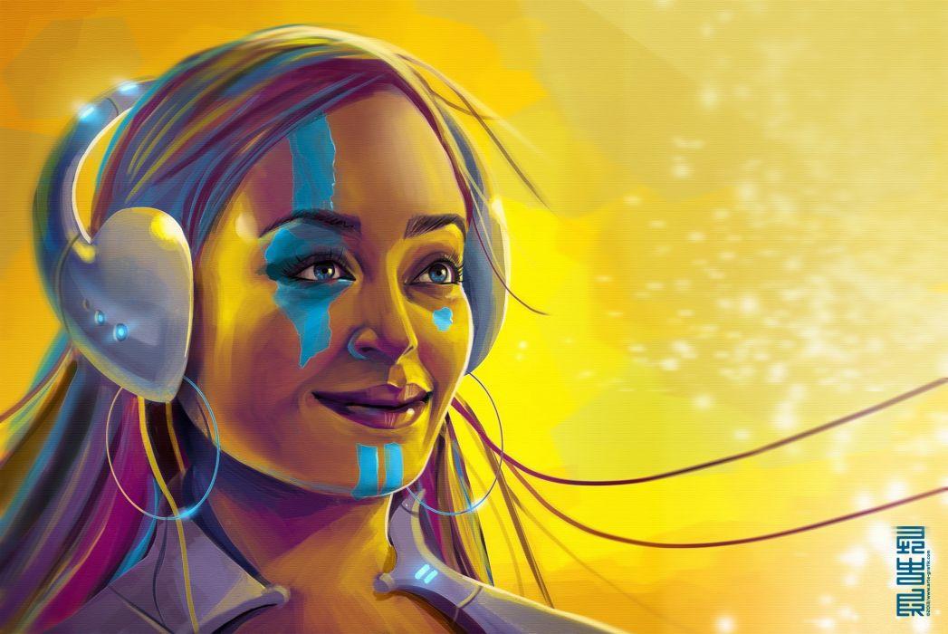 art  girl  paint  headphones  smile psychedelic       g wallpaper