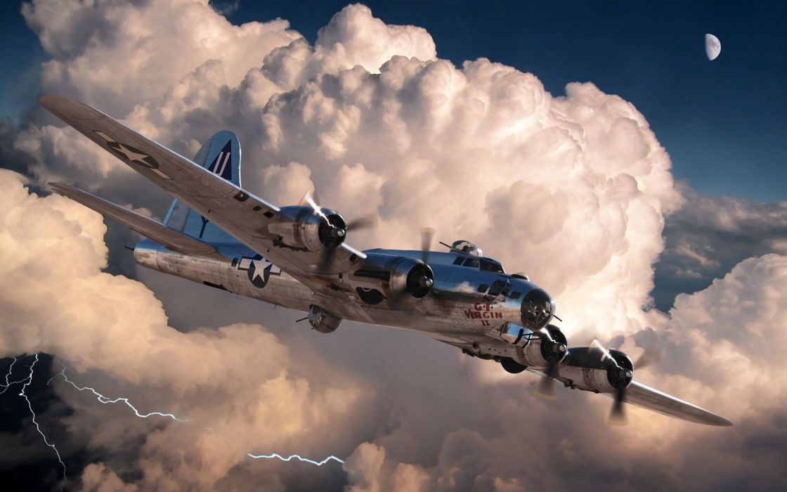 art aircraft B-17G military clouds storm lightning    g wallpaper