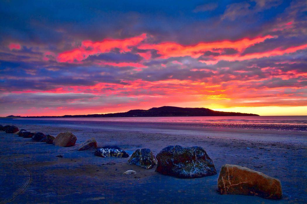 Iceland  beach  rocks  bay  sunrise wallpaper