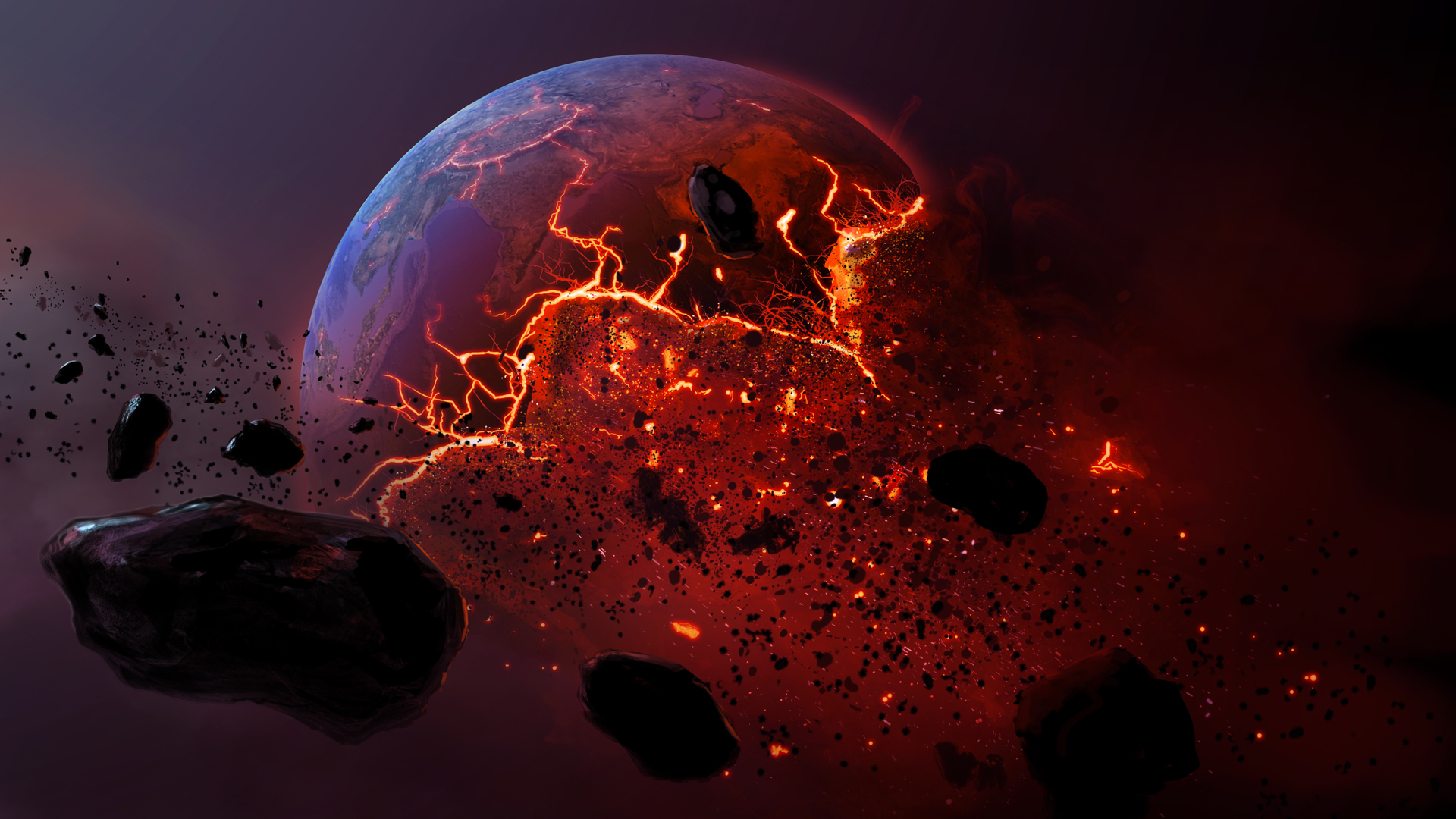 Meteor burning earth planet apocalyptic h wallpaper ...