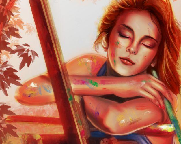 Painting Art Hands Girls wallpaper