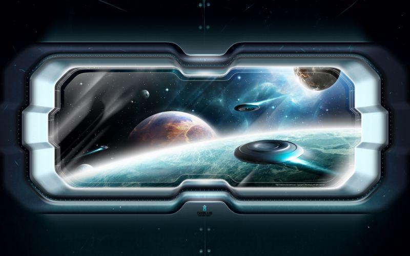 space spaceship porthole wallpaper