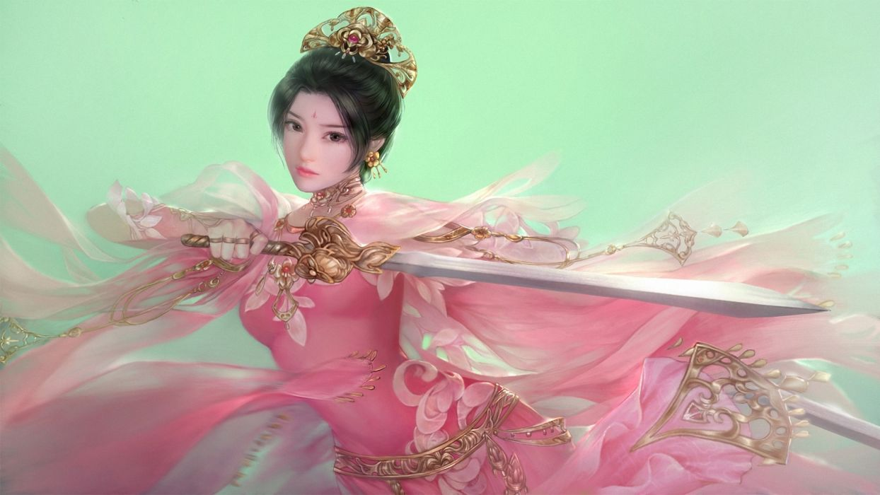 Warrior Asian Sword Fantasy Girls asian        d wallpaper