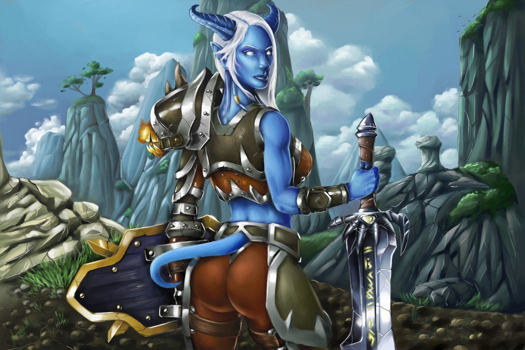 World of WarCraft ( WoW ) Supernatural beings Warrior Sword Armor Games Fantasy Girls wallpaper