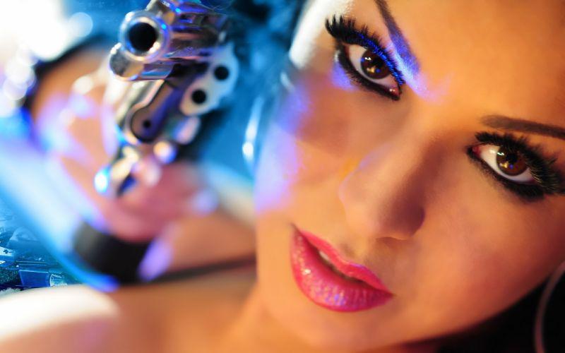 GIRLS WITH GUNS weapon gun girls girl sexy babe f wallpaper