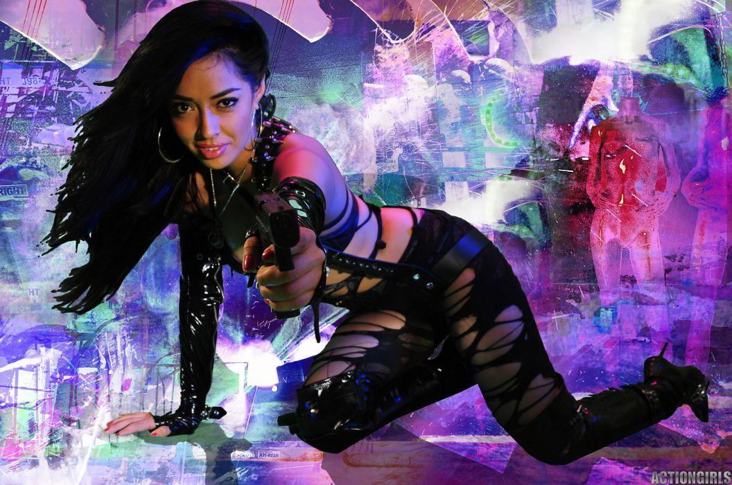 GIRLS WITH GUNS weapon gun girls girl sexy babe asian g wallpaper