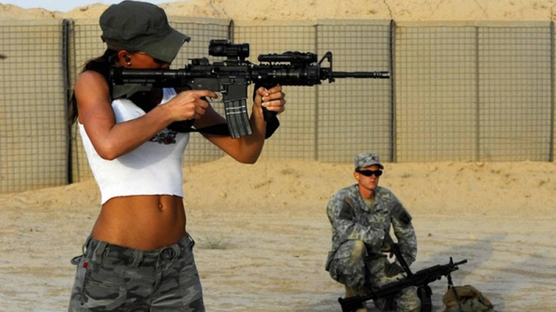 GIRLS WITH GUNS weapon gun girls girl sexy babe military f ...