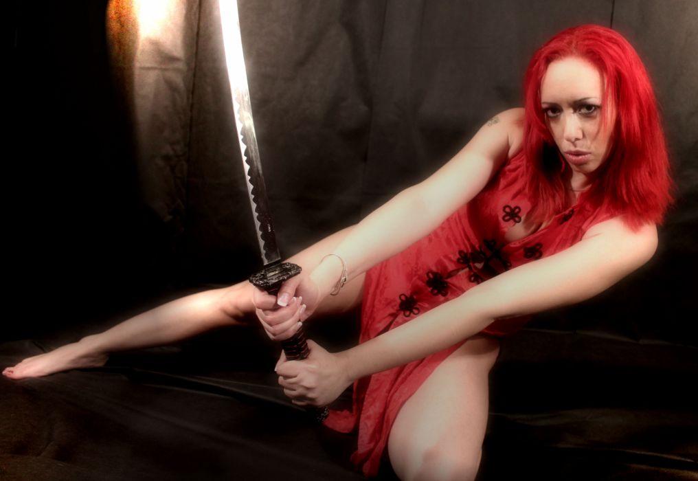 warrior sword katana redhead sexy girl fantasy    f wallpaper