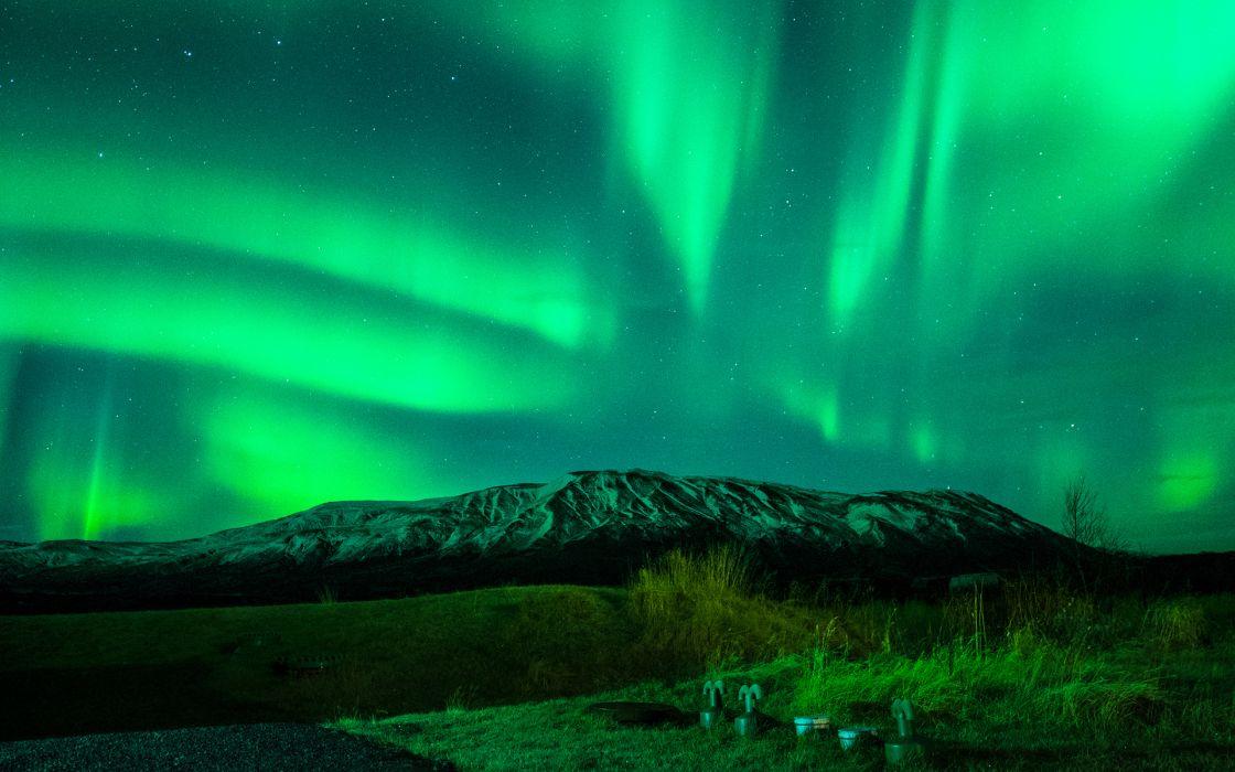 Aurora Borealis Northern Lights Night Green Stars Mountains wallpaper