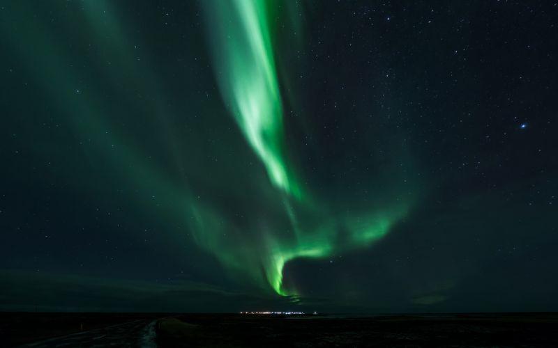 Aurora Borealis Northern Lights sky stars f wallpaper