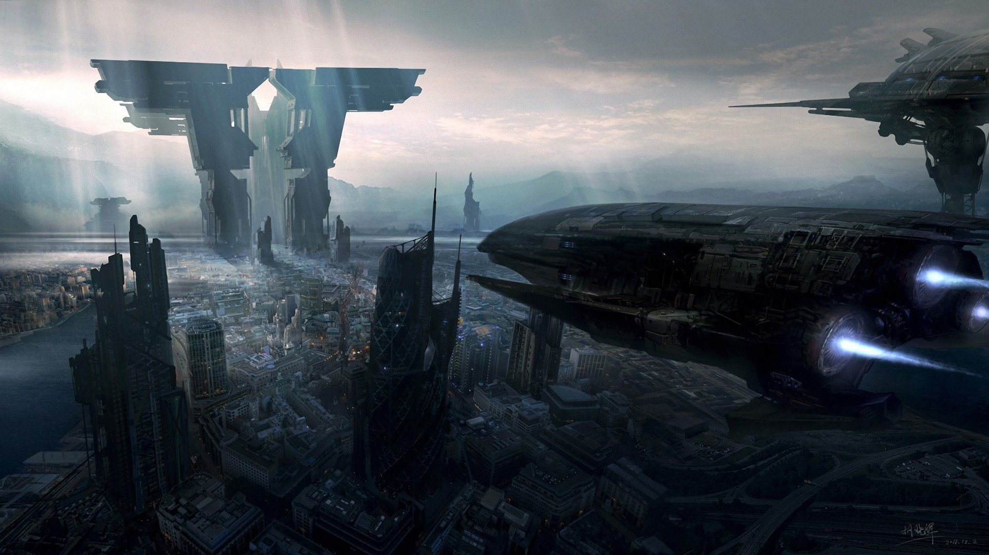 City The Future Ships Art Spaceship G Wallpaper