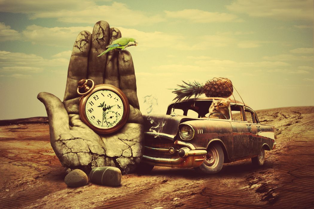 creative 3d art surreal time chevrolet retro     g wallpaper