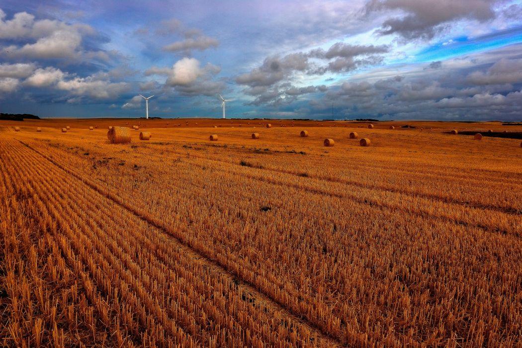 field windmills sky clouds landscape mill wallpaper