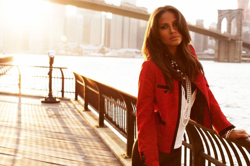 girl jacket river hair emanuela de paula model sun bridge new york wallpaper