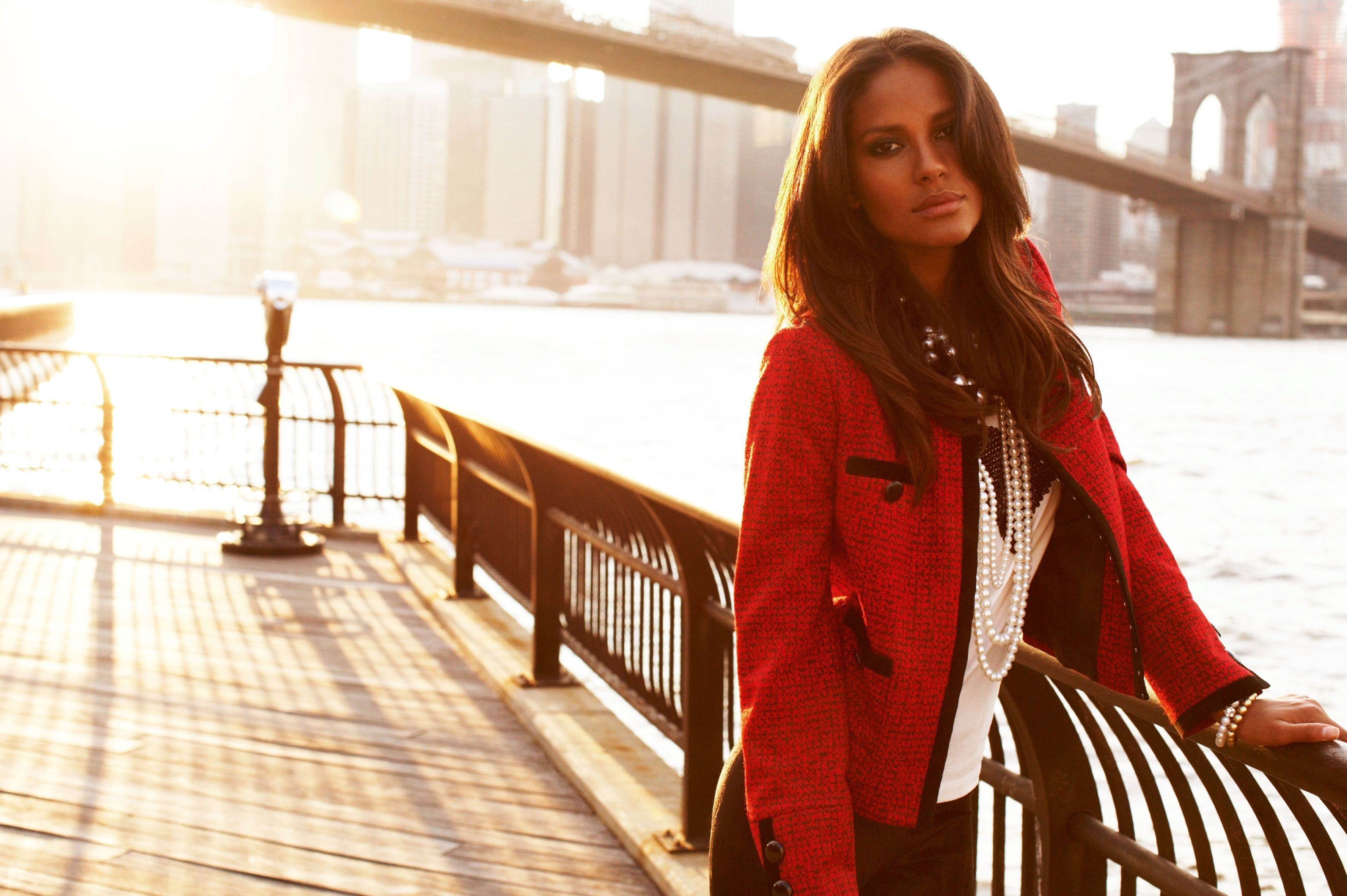 Girl jacket river hair emanuela de paula model sun bridge for New york models
