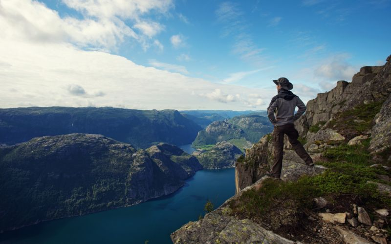 guy Man traveler hiker fjord panorama sea lonely sky mountain clouds nature lonely man male traveler tourist fjords panorama sea single sky mountains clouds nature wallpaper