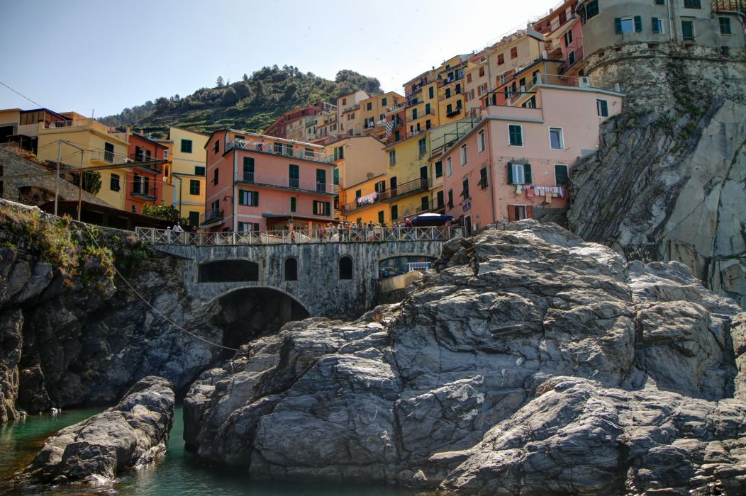Italy Houses Bridges La Spezia Liguria Crag Cities wallpaper