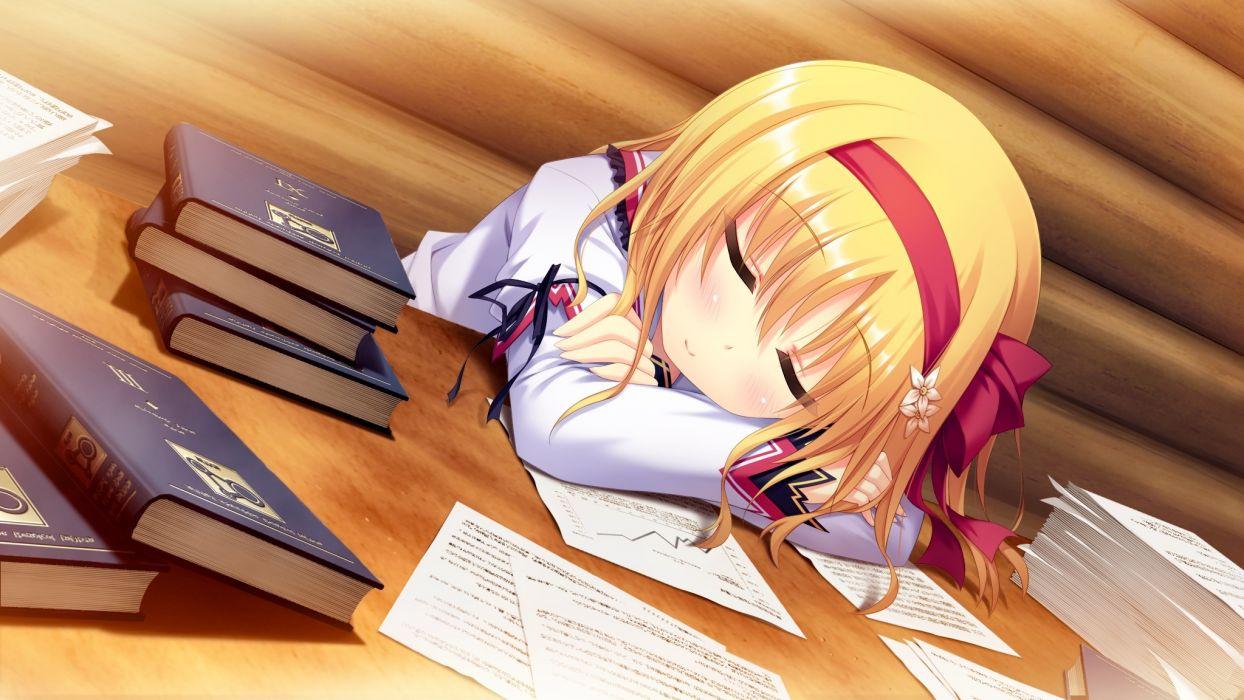 koiken otome blonde hair book game cg koiken otome seifuku sleeping someya yuzu tateha wallpaper