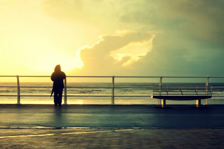 mood people sea waves bench sun sky clouds wallpaper