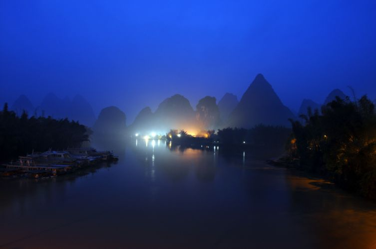 Mountain river night lights wallpaper