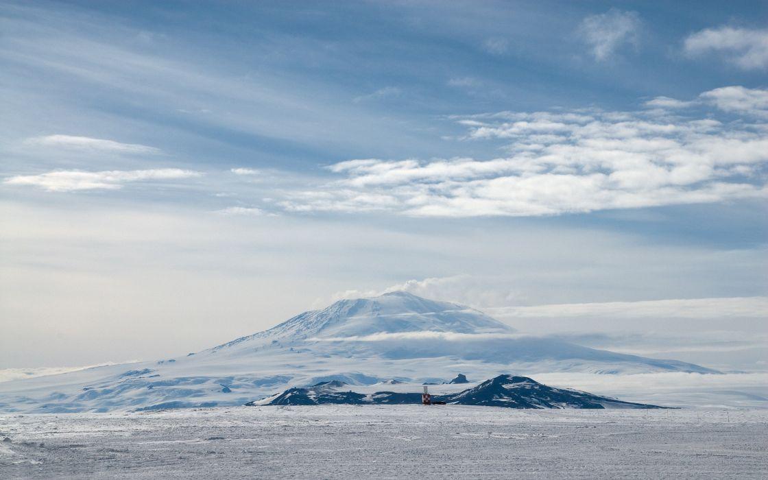 mountain clouds snow winter wallpaper
