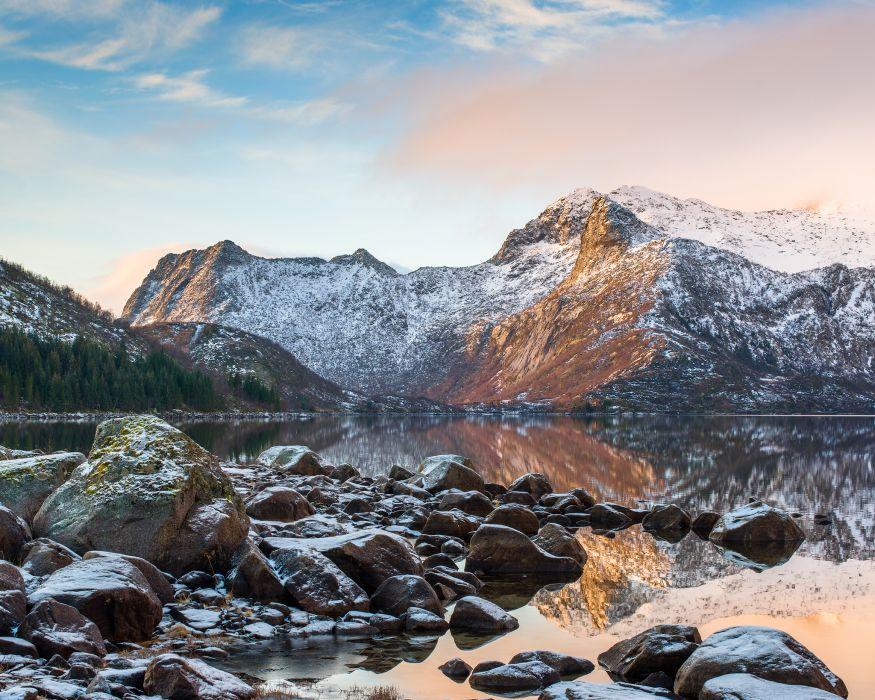 mountain lake rocks landscape reflection winter snow wallpaper