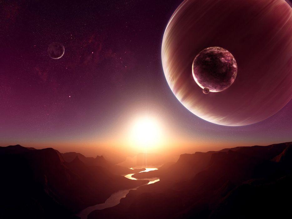 Alien Landscape Planet Stars Sunlight River Wallpaper