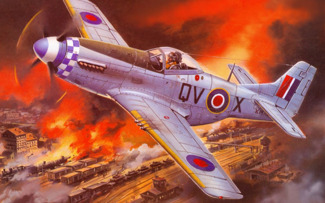 art sky North American P-51 Mustang battle  b wallpaper