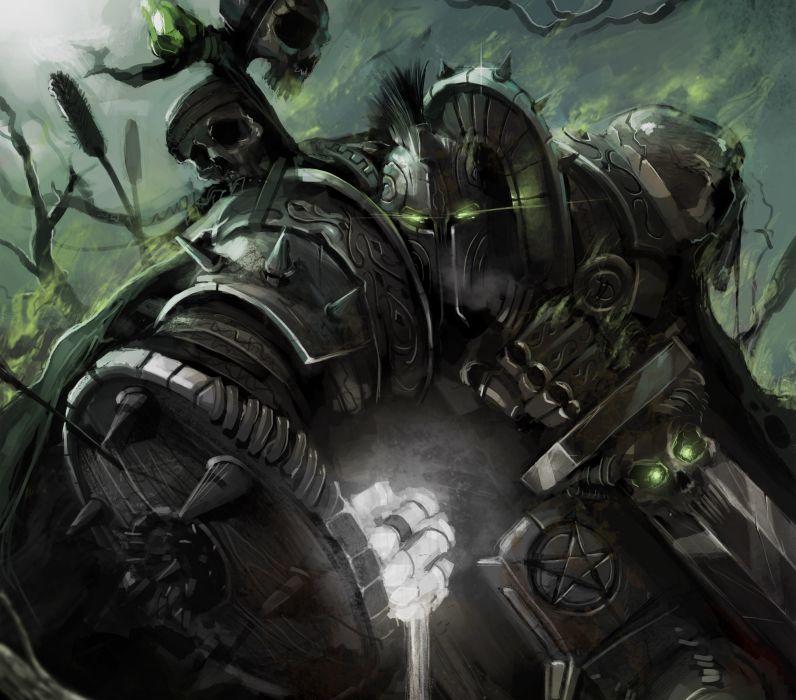 art warrior armor helmet sword gun wallpaper