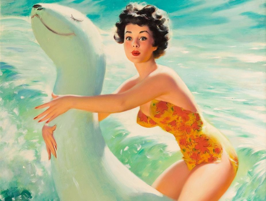 Bill Medcalf retro girl swimsuit beach mood    f wallpaper