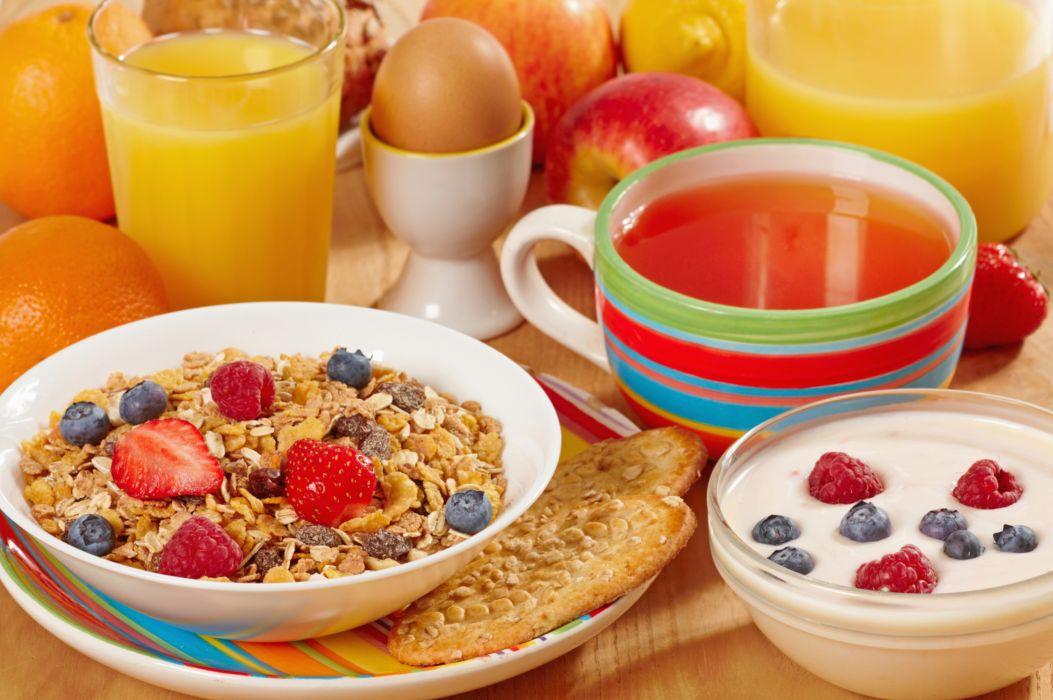 breakfast muesli raspberries berries fruit orange lemon strawberry juice apple tea orange pastry egg wallpaper