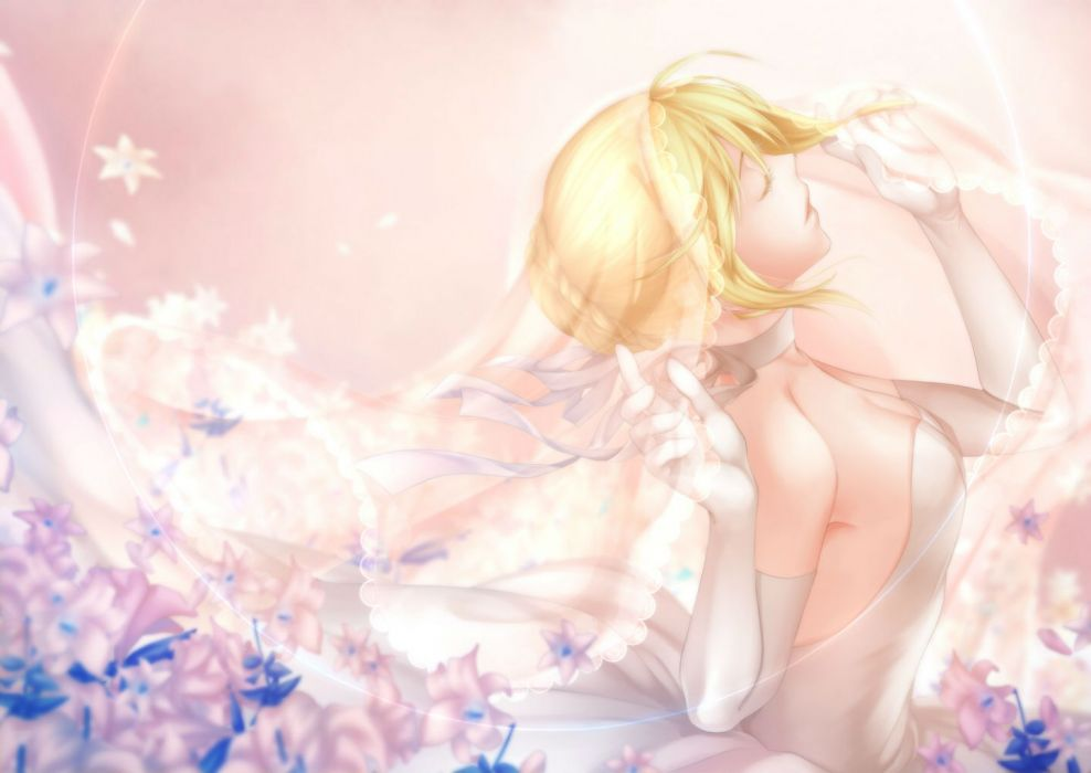 fate stay arkray blonde hair elbow gloves fate stay night flowers saber wedding dress wallpaper