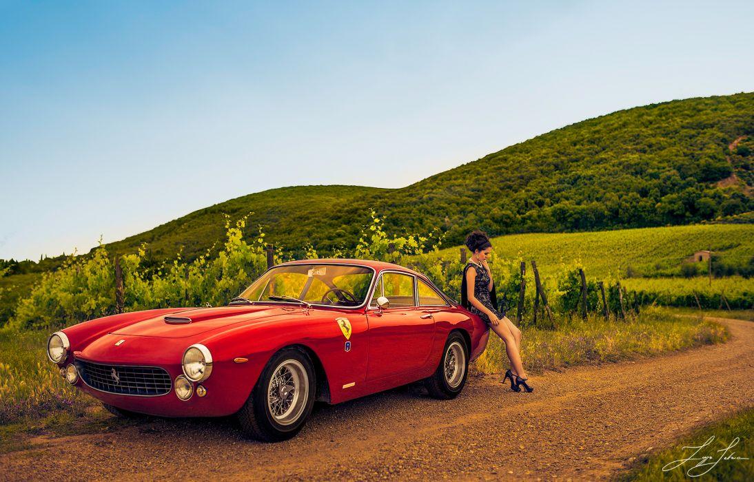 Ferrari 250 GT girl road vineyards supercar g-t wallpaper