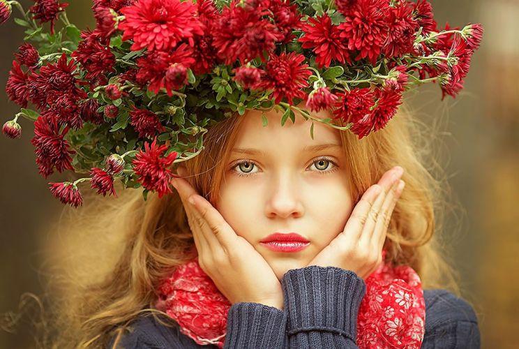 girl face flowers eyes beauty mood bokeh g wallpaper