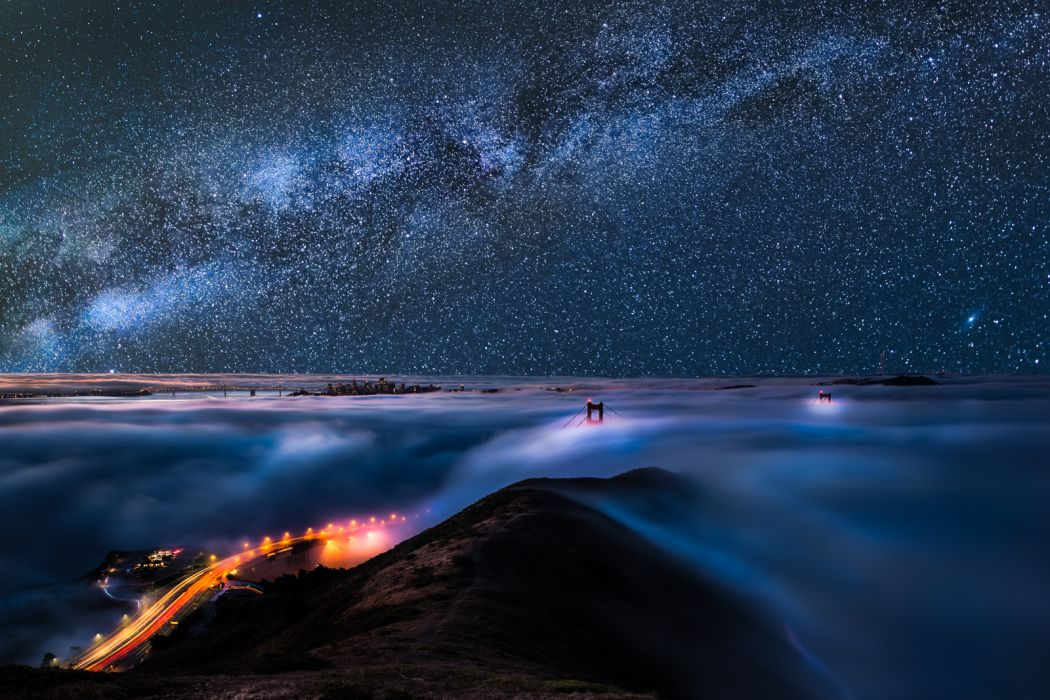 Golden Gate Bridge Bridge San Francisco Fog Mist Stars Milky Way Night Lights Timelapse wallpaper