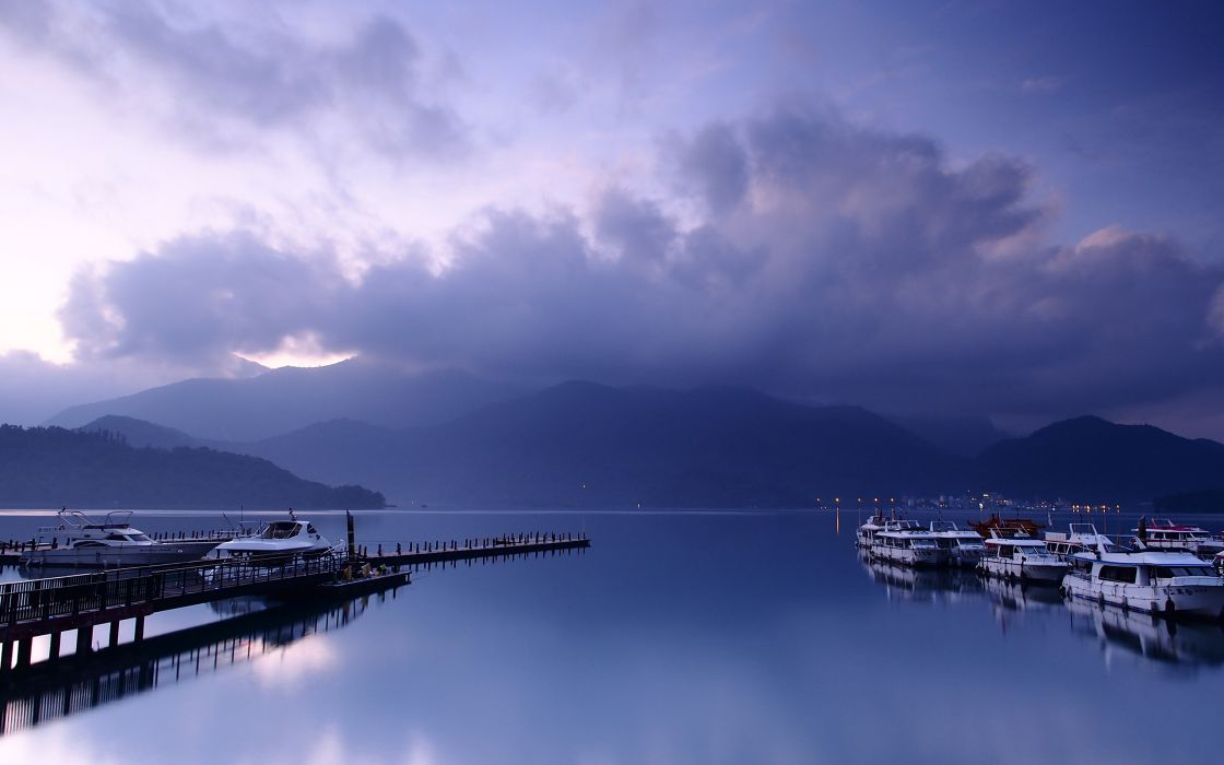 Harbor Purple Clouds Boats wallpaper