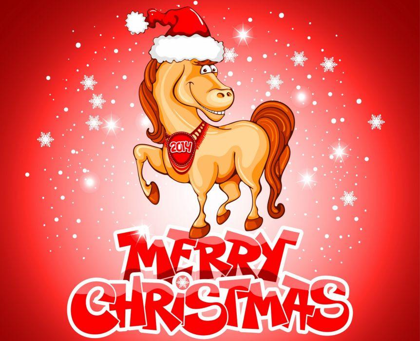 Holidays Christmas New year Horses Vector Graphics Winter wallpaper
