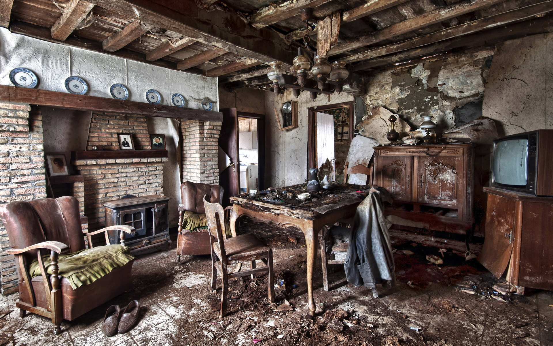 Interior old table armchair room design ruins apocalyptic for Interior post designs