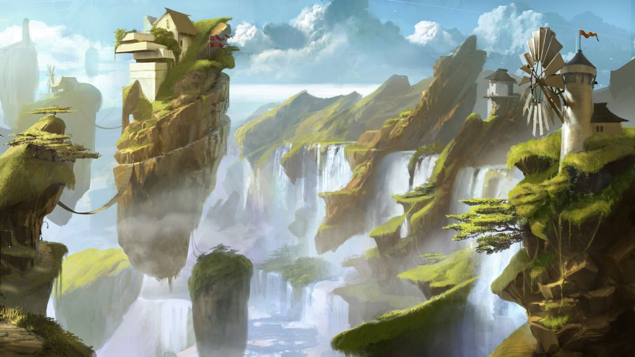 Islands Floating Drawing Windmill Waterfall landscape magical     f wallpaper
