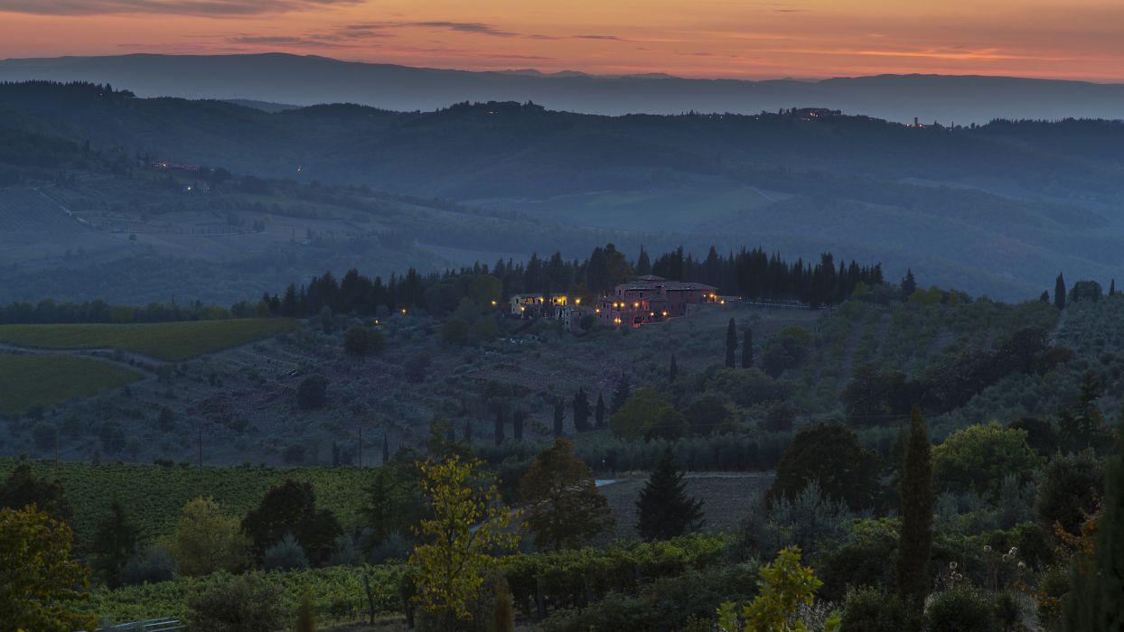 Italy hills fields trees houses lights evening dusk sunset wallpaper