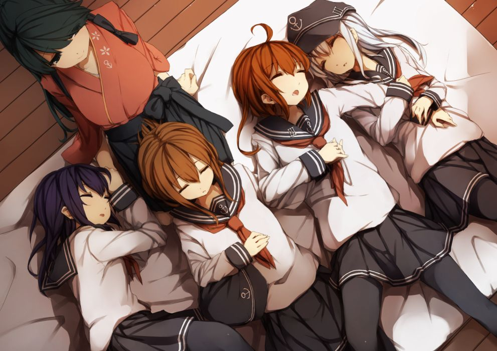 kantai collection black eyes black hair brown hair gray hair hat hibiki (kancolle) japanese clothes kantai collection long hair seifuku short hair sleeping thighhighs wallpaper