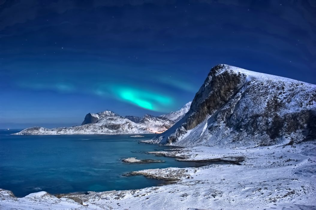 landscape winter snow mountains sea northern lights Lofoten Islands Norway wallpaper
