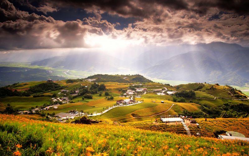 Landscape Clouds Sunlight Mountains wallpaper